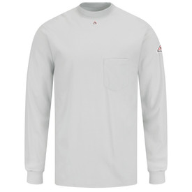 Bulwark CAT 2 FR Cotton Long Sleeve Tagless T-Shirt - Grey Bulwark long sleeve Tagless shirt with cuffs and trim collar.  1 Front chest pockets and 1 front patches. Back view.