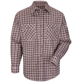 Bulwark Plaid Long Sleeve CAT 2 FR Uniform Shirt - Burgundy/teal Bulwark plaid long sleeve work shirt with collar and cuffs. With back pleats.  2 Front chest pockets with flap and buttons. Front view.