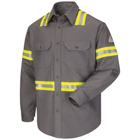 Bulwark FR CAT 2 Hi Viz Long Sleeve Uniform Shirt - Grey Bulwark long sleeve work shirt with collar and cuffs. With yellow and grey double high visibility band on lower arm/waist and on across shoulder. 2 Front chest pockets with flap and buttons.  Front view.
