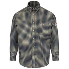 Bulwark Plaid Long Sleeve CAT 2 FR Dress Shirt - Front view of Bulwark Black Plaid Long sleeve shirt with 7 buttons and 1 pocket on left chest.