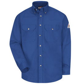 Bulwark 7 oz FR CAT 2 Dress Uniform Shirt - Royal blue Bulwark long sleeve work shirt with collar and cuffs.  2 Front pockets with flap and nickel plated buttons. Buttons up. Front view.