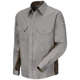 Bulwark 6 oz Camo Long Sleeve CAT 2 FR Uniform Shirt - Grey Bulwark long sleeve camo work shirt with cuffs and collar. With camo trim-cut on each sides. 2 Front chest pockets with flap and button closure. Button front. Front view.
