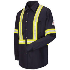 Bulwark 7 oz High Vis CAT 2 FR Dress Uniform Shirt - Navy blue Bulwark long sleeve work shirt  with cuffs and collar.  With yellow and grey double high visibility band on lower arm/waist and across shoulder. 2 Front chest pockets with flap and button closure. Front view.