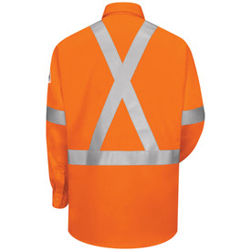 Bulwark High Visibility CAT 2 FR 6 oz Work Shirt - Orange Bulwark long sleeve work shirt  with cuffs and collar.  With grey single high visibility band on lower arm/waist and across shoulder. 2 Front chest pockets with flap and button closure. Front view.