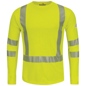 Bulwark High Visibility CAT 2 FR Long Sleeve Tee Shirt - Yellow Bulwark long sleeve t-shirt work shirt with cuffs and trim collar. With grey double heat-seal reflective stripe on upper/lower arm and on waist/across shoulder.  Pocketless. Front view.