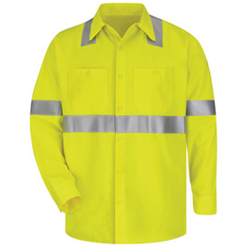 Bulwark 7 oz FR Button Front CAT 2 Hi Viz Work Shirt - Yellow Bulwark long sleeve work shirt with collar and cuffs. With grey single reflector on lower arm/waist and on across waistline. 2 Front chest pockets with button. Front view.