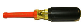Cementex Insulated Metric Nut Driver - Cementex Nut Driver with Orange shaft and a Yellow Handle and a black cushion grip coating on the handle. Shaft expands at tip.