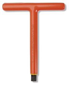 Cementex 6 Inch T-Handle Voltage Rated Metric Hex Wrenches - Red Insulated Wrench in the shape of a T.