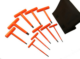 Cementex 6 Inch Insulated Assorted T- Handle Hex Wrench Sets - 10 red insulated T wrenches
