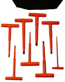 Cementex 6 Inch Insulated Assorted T- Handle Hex Wrench Sets - 8 red insulated T wrenches