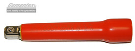 Cementex 3/8 Inch Flared Fiberglass Extension Bars - Red insulated extension bar with one end expanded and one end has square steel fitting.