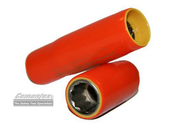 Cementex Insulated 3/8 In 6 Pt Deep Wall Square Drive Sockets - 2 Red insulated sockets.