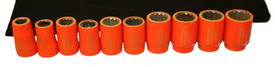 Cementex 3/8 In 12 Point Metric Standard Wall Square Drive Sockets - 10 Red Insulated Sockets.