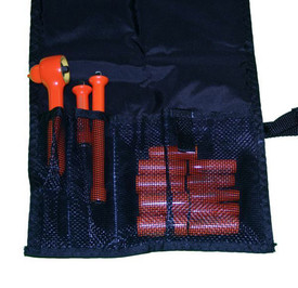 Cementex 1/4 Inch Metric Insulated Square Drive Pouch Sets - Square Drive Insulated orange Ratchet, a short and a long insulated orange extension bar and 10 insulated orange sockets laying flat in an open pouch and tucked in mesh sleeves.