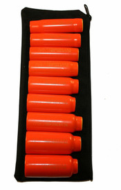 Cementex 6 Point Metric 3/8 Inch Square Driver Sets - 9 red insulated sockets lined up on laying on a black pouch.