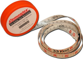 Cementex red Insulated Measuring Tape wit tape pulled out from reel showing 33 feet and 50 feet.