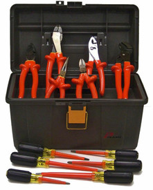 Cementex 12 PC Maintenance Electrical Tool Kits - 12 Piece Insulated tool kit with linesman's pliers, diagonal cut pliers, chain nose pliers, slip joint pliers, water pump pliers, crimpers, 2  mechanics tip screwdriver, 2 cabinet tip screwdrivers, 2 Phillips tip screwdriver laid in front of a grey tool box.