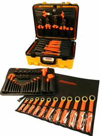 Cementex MRO Super and Deluxe Super Insulated Tool Case Sets - 60 Piece Insulated Tool Set with  square drive ratchet, 2 extension bars, 10 sockets, linesman's pliers, diagonal cut pliers, chain nose pliers, cable cutters, crimper, wire stripper, water pump pliers,  12 Long Arm L Hex wrenches, 7 nut drivers, 11 box end wrenches, 4 cabinet tip screwdrivers, 2 Phillips tip screwdrivers, 1 mechanics tip screwdrivers and a wrench roll pouch  in a think yellow hard shell case.