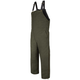 Horace Small Cotton Duck Insulated Bib Overall - earth green insulated overall with elastic straps and brass buckle. 2 Front chest patch pockets and 2 front hip pockets with snap closures. Full length zipper up side of leg. Front Right Angle view.