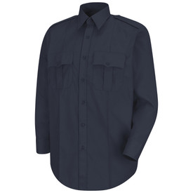 Horace Small Men's Long Sleeve 7 Button Front Poplin Shirt - dark navy men's long sleeve stretch work shirt with banded collar and 2 button cuff w/ button sleeve placket.  2 Front pleated pockets-scalloped flaps with button closure. Front view.