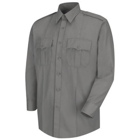 Horace Small Men's Deputy Long Sleeve Shirt - Horace Small grey men's long sleeve law enforcement shirt with banded collar, 3 button cuff with placket, 2 front chest pleated pockets with scallop button flaps and 2 front darts. 7 Button Font Closure. Front view.