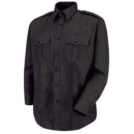 Horace Small Sentry Zipper Front Long Sleeve Shirt - Black long sleeve police shirt with long sleeve banded collar and 2 buttoned cuff, Center front placket and 2 Front chest pleated pockets and scalloped flaps with front pleats. Front view.