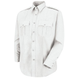 Horace Small Women's Long Sleeve Zip Front Sentry Shirt - Horace Small  White Women's long sleeve police shirt with banded collar, 3 button-cuffs, 2 pleated front chest pockets with scallop button flaps and 7 button front closure.  Front view.