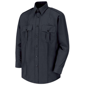 Horace Small Sentry Action Shirt - Front view of Dark Navy Officer long sleeve shirt with Two-Button Cuff with Button-Sleeve Placket, 2 sewn creases, 2 Pleated Pockets with  Scalloped Flaps, 7 button front placket closure and collar.