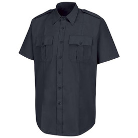 Horace Small Men's New Dimension Short Sleeve Shirt - Red Kap Dark Navy Short Sleeve Women's police shirt with banded collar, 2 pleated front chest pockets with scallop button flaps and 7 button front closure. 1 Permanent Crease on each front side of the shirt. Front view.