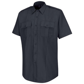 Horace Small Deputy Deluxe Tropical Weave Short Sleeve Shirt - Horace Small dark navy short sleeve work shirt with banded collar, 2 Front pleated pockets with scalloped flaps, permanent creases on each side of the shirt and 7 button front closure. Front view.