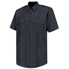 Horace Small Sentry Officer Short Sleeve Badge Shirt - Horace Small black short sleeve police shirt with collar, 2 Front pleated pockets with scalloped flaps, badge tab, name plate holder, permanent creases on each side of the shirt and 7 button front closure. Front view.