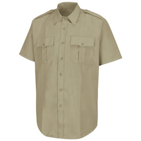 Horace Small Women's Short Sleeve Pleated Pocket Shirt - Horace Small Silver Tan short sleeve police shirt with collar, 2 Front pleated pockets with scalloped flaps, badge tab, permanent creases on each side of the shirt and 7 button front closure. Front view.