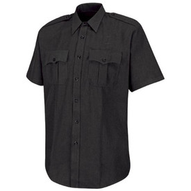 Horace Small Women's Sentry Tropical Weave Short Sleeve Shirt - black short sleeve police officer shirt with collar, 7 button-center front placket closure, 2 Pleated front pockets with scalloped flaps and a permanent crease on the left and right side full length of the shirt. Front view.