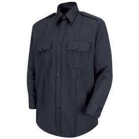 Horace Small Men's Classic Stretch Long Sleeve Shirt - Front View of Dark Navy Office long sleeve shirt with Two-Button Cuff with Button-Sleeve Placket, 7 button placket front closure, 2 pleated pockets with scalloped flaps, collar and 2 permanent creases.