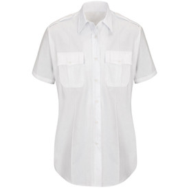 Horace Small Women's Poplin Short Sleeve Motion Shirt - white short sleeve office shirt with collar, 2 Front pleated scallop pocket flaps, 7 button placket front closure and permanent crease on the left and right side of the shirt. Front view.