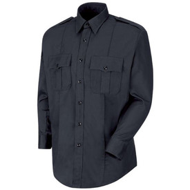 Horace Small Cotton Short Sleeve Unisex Uniform Shirt - dark navy long sleeve station shirt with collar, 2 Front pleated scallop pocket flaps, 2 button cuffs, Shoulder Epaulets, 7 button placket front closure and permanent crease on the left and right side of the shirt. Front view.
