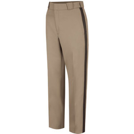 Horace Small Women's Virginia Sheriff Trousers - Pink Tan Front View of striped trousers with 2 Straight Front Pockets with Triangle Bar tacks, zipper closure wide belt loop and waist and a crease on each leg.