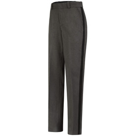 Horace Small Women's Ohio Sheriff Black Stripe Trouser - grey heather with black stripe women's long work pants with 2 Quarter top front pockets wide waist and belt loops. Front view.