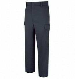 Horace Small Women's Navy 6 Pocket Cotton Cargo Pants - Dark Navy Front View  of Cargo Trousers with wide waist, belt loops, 2 Quarter Top Front Pockets, a cargo pocket on the side of each leg and creases on the back of both legs.