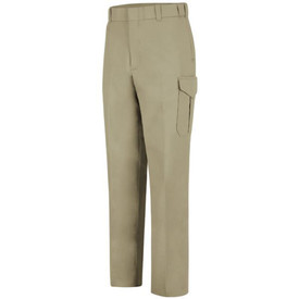 Horace Small  6 Pocket Cargo Women's Trouser - Silver Tan long work pants with 2 quarter front hip pockets, a cargo pocket on the side of each leg, front leg creases, belt loops and a wide waist. Front view.