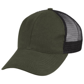 Horace Small Land Management Mesh Ball Cap - earth green twill mesh ball cap with 2 front solid panels and curved brim. Front view.