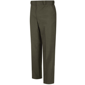 Horace Small Men's Poly Wool Dress Pants - earth green men's tropical dress long work pants with belt loops, 2 Quarter top front pockets, zipper front and permanent creases on both legs. Front view.