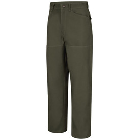 Horace Small Men's Land Management Duck Brush Pants  - earth green men's jean style brush work pants with shank button closure, 2 Jean-style front pockets, belt loops and double layer knee shin/calf panel. Front view.