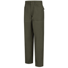 Horace Small Women's Land Management Duck Brush Pants - earth green women's jean style brush work pants with shank button closure, 2 Jean-style front pockets, belt loops and double layer knee shin/calf panel. Front view.
