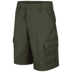 Horace Small Land Management Women's Cargo Shorts - earth green women's jean style cargo shorts with double-needle chain stitch and wide ladder stitch belt loops, 2 Quarter top front pockets and a cargo  on the side of each leg . Front view.