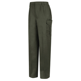 Horace Small Land Management Women's Cargo Pants - earth green women's cargo trouser with  tacked at top & insert belt loops, 2 Quarter top front pockets, zipper closure and a cargo pocket closure on the side of each leg. Front view.