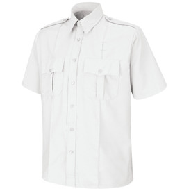 Horace Small Security Poplin Short Sleeve Shirt - white sentinel short sleeve work shirt with 2 piece lined banded collar  topstitched w/ collar stays, 7 Button center front placket, 2 Hex center pleat flap pockets with hook & loop closure and button and 2 creases on the front. Front view.