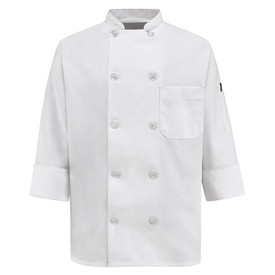 Chef Designs 10 Pearl Button Vented Cuff Women's Chef Coat - Chef Designs white women's Long Sleeve Chef Coat with Stand-up Collar and Pleated Cuffs. 1 Left Chest Pocket and 10 Front Buttons. 1 Left Sided Pocket. Front Button Closures.