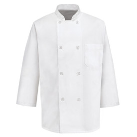 Chef Designs Eight Pearl Button3/4 Sleeve Chef Coat - Chef Designs white 3/4 Sleeve Chef Coat with Stand-Collar and Trim Cuffs. 1 Left Chest Pocket and 8 Front Buttons. Front Button Closure. Front view.