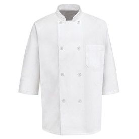 Chef Designs Eight Pearl Button Half  Sleeve Chef Coat - white 1/2 Sleeve Chef Designs Chef Coat with Stand-up Collar and Trim Cuffs. 1 Left Chest Pocket and 8 Front Buttons. Front Button Closures. Front view.